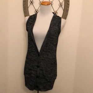 Forever 21 black and gray knit long vest sweater s